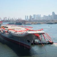 he launching ceremony of China's second aircraft carrier was held at the Dalian Shipyard of the China Shipbuilding Industry Corporation(CSIC) on the morning of April 26, 2017