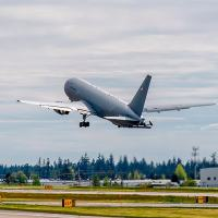 Boeing's KC-46A tanker takes off from Paine Field in Everett, Wash., where the aircraft are built. Japan is the first international customer for the multi-role tanker that will bring unmatched capabilities and reliability upon delivery. (Photo by Gail Hanusa)
